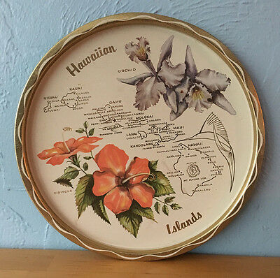 Vintage State of Hawaiian Islands Souvenir Tray Gold Metal Travel Hibiscus