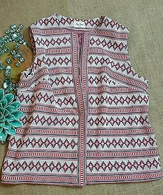VTG AMY ADAMS KNITS Womens Sz Lg Red White Blue Aztec Stretch Open Cardigan Vest