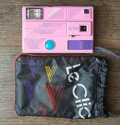 Vintage Pink Le Clic Disc Camera Carry Bag 1980s Retro