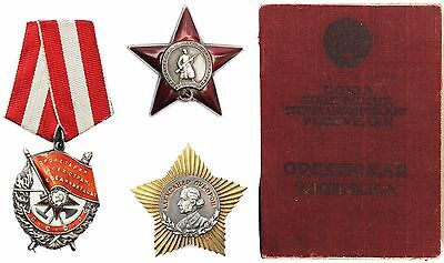 USSR Russia Orders Medals Set Suvorov 2, Kutuzov 2, Red Banner, Red Star, Docs