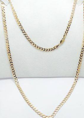9ct YELLOW GOLD FLAT CURB LINK CHAIN NECKLACE - 61 CM LONG - 10.92 GRAMS