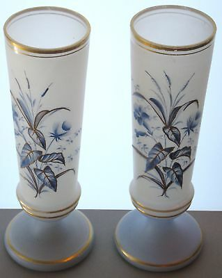 "Antique Hp Gold Enameled Bristol Art Glass Vases Pair England 1880-1890 10 1/8""H"