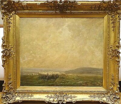 Fine Huge 19th Century South Downs Sheep Grazing Morning Landscape Oil Painting