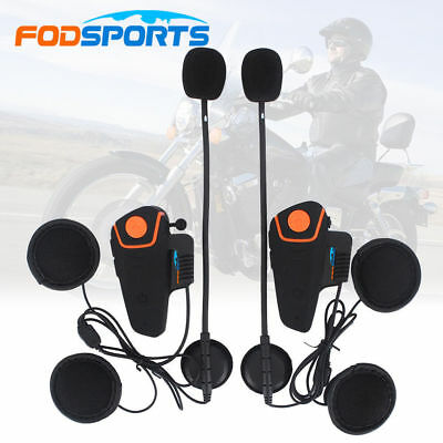 2x BT-S2 1000M Motorcycle Helmet Bluetooth Headset Intercom Interphone FM Radio