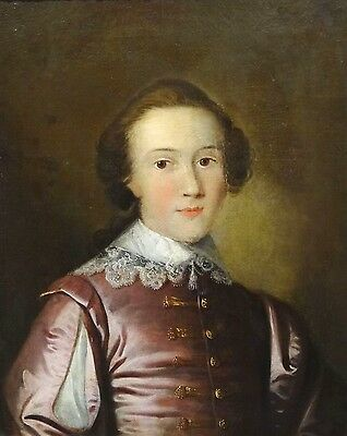 18th Century English Old Master Portrait Of A Boy Purple Jacket Antique Painting