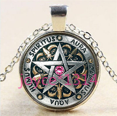 SILVER PENTAGRAM STAR WICCA MAGIC PAGAN SYMBOL pink GOTH glass necklace pendant