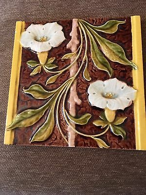 Antique Majolica Art Nouveau Tile  Gibbons Hinton VG