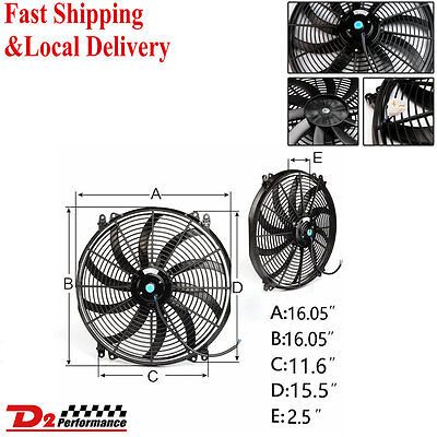 """16"""" 12V Pull Push Curved Blade Radiator Electric Thermo Fan &mounting Kit"""