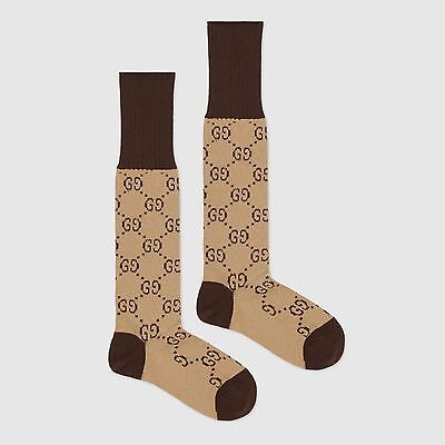 Gucci GG pattern Beige & Brown Cotton-Blend Socks Sz Medium EU 38-39, US 8-9 NIB