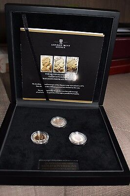 3 Proof Gold Sovereigns, first portraits, 1979, 85,98 (with Box and Certificate)
