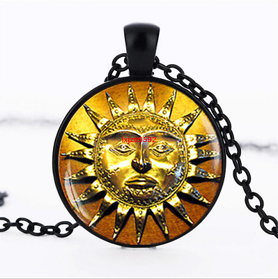 Antique style Sun Medieval Glass Dome Chain Pendant Necklace wholesale jewelry