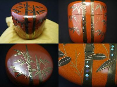 Japanese Traditional Lacquer Wooden Tea Caddy BAMBOO FOREST maki-e Natsume (609)