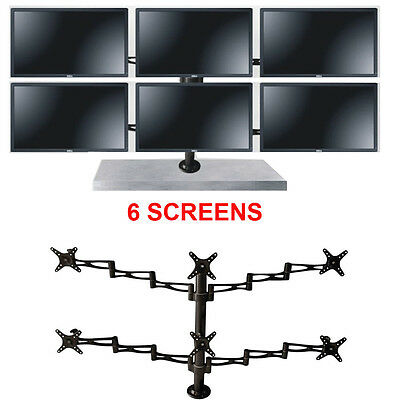 6 Six Lcd Led Monitor Screen Freestanding Desk Stand Mount Adjustable 10-27""