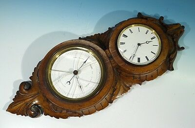 Victorian Antique Clock Barometer in Carved Fruitwood Case.