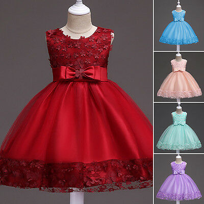 Girls Dress Flower Princess Sleeveless Formal Party Communion Wedding Bridesmaid