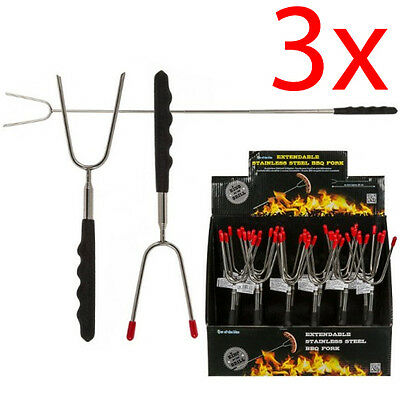 3 X 65Cm Long Extendable Marshmallow Roasting Forks Bbq Skewers Toasting Metal