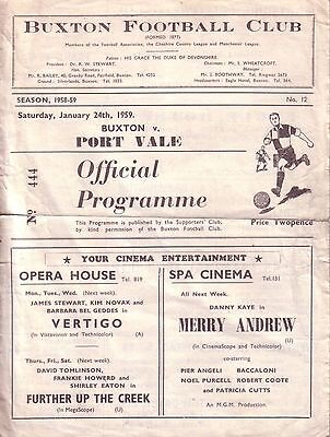 BUXTON v PORT VALE RESERVES 1958/59 CHESHIRE LEAGUE