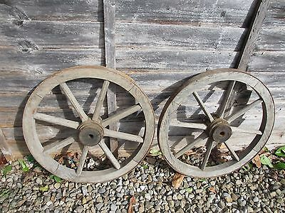 """Antique Wooden Wagon Wheel Horse Cart Iron Strap Vintage Old French Pair  17.5""""W"""