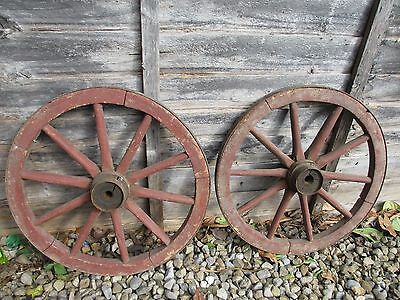 "Antique Wooden Wagon Wheel Horse Cart Iron Strap Vintage Old French Pair   16""W"