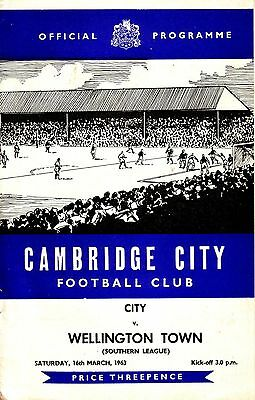 CAMBRIDGE CITY v WELLINGTON TOWN 1962/63 SOUTHERN LEAGUE