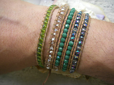 CHAN LUU bracelet perles Brilliant White & Green Crystal Agate Bead Leather cuir
