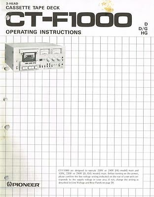 PIONEER CT-F1000 Cassette Deck  Manual Bedienungsanleitung ORIGINAL