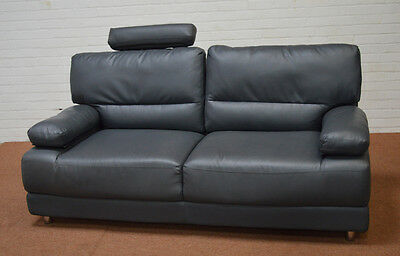 Clearance - Rocco 3 Seater Grey Leather Sofa - T3806