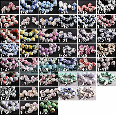 Porcelain 10pcs  Ceramic Charms Loose Spacer Big Hole Beads Jewelry Findings