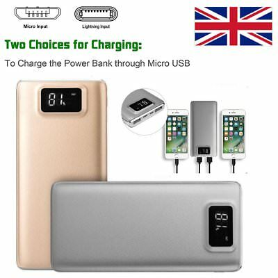 UK 100000mAh Portable External Solar Battery USB Charger Power Bank for iPhone 7