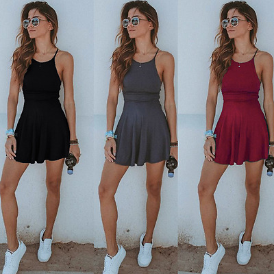 Women Short Mini Dress Summer Casual Sleeveless Evening Party Beach Dress