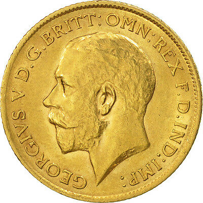 [#507104] Great Britain, George V, 1/2 Sovereign, 1911, AU(55-58), Gold, KM:819