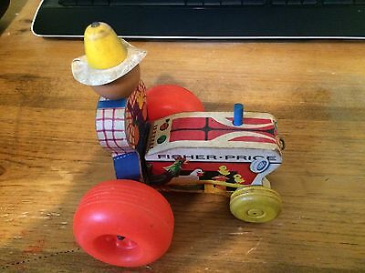 1961 Fisher Price MIGHTY TRACTOR Wooden Pull Toy #629