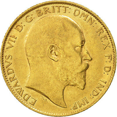 [#507103] Great Britain, Edward VII, 1/2 Sovereign, 1910, AU(50-53), Gold