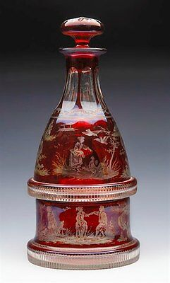 Antique Bohemian Ruby Flashed Figural Marriage Decanter 19Th C.