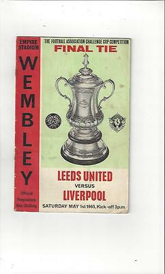 Leeds United v Liverpool FA Cup Final Football Programme 1965