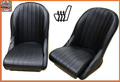 Pair BB Vintage Classic Car HEATED Bucket Seats Rounded Back Ideal AC COBRA