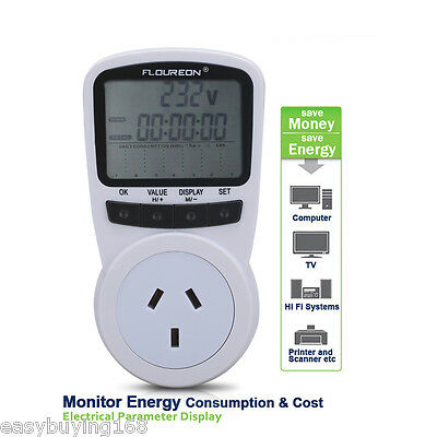 Plug-in Power Meter Energy Monitor Electricity Watt Socket Overload Protection