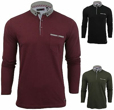 New Mens Button Up Long Sleeve Pique Collared Casual Formal Polo Jumper Shirt