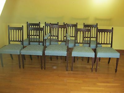 Fantastic Set Of 9 George Iii Mahogany Dining Chairs In Gothic Style