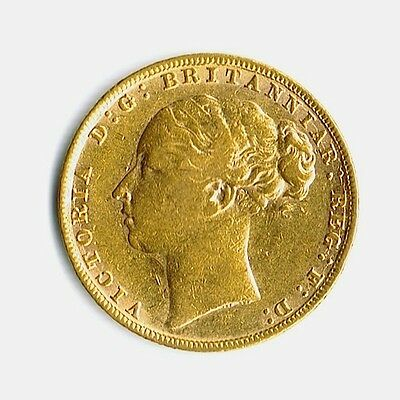 1880 full gold sovereign, Queen Victoria - young head, St. George rev., London