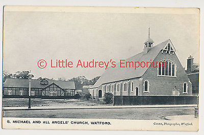 Old Postcard St Michael & All Angel's Church Watford Local Unposted c1920 AL067