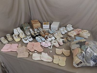 Huge Antique Vintage Child Baby Doll Shoes Shoe Lot Booties Ideal Mary Janes ++