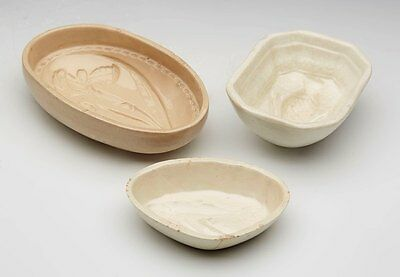 Three Fine Small Antique Creamware Jelly Moulds C.1800
