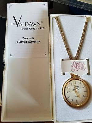 Precious Moments Love One Another Valdawn Pocket Watch Gold Tone Necklace 30