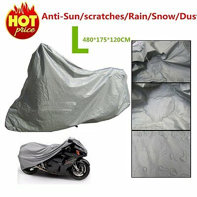 L Waterproof Motorcycle Cover Sheet Motorbike Moped Scooter Rain Large Size DR