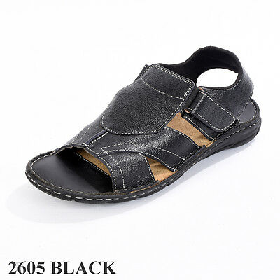 Men`s Real Leather Sandals Black Brown Sizes EU 40 to EU 45 (2605)