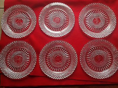 "AVON set of 6 collector plates lead crystal Fostoria clear 8"" different patterns"