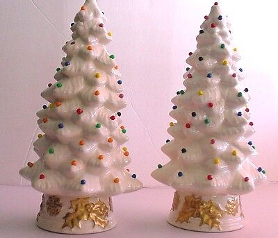 "Ceramic Christmas Tree Set of Two Holiday 9"" White Decorated Trees"