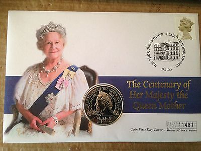 2000 Queen Mothers Century £5.00 Pound Coin F.d.c. - Clarence House Post Mark