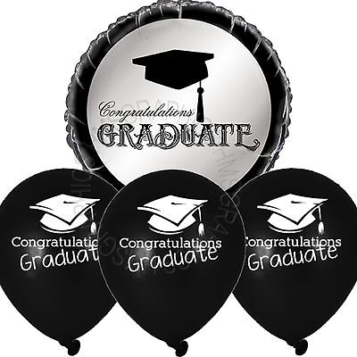 Graduation Party Helium Balloons,Table Decorations,12 black printed latex,1 foil